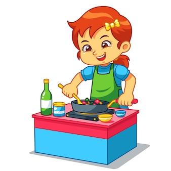 Fille de cuisine pour faire de la nourriture délicieuse