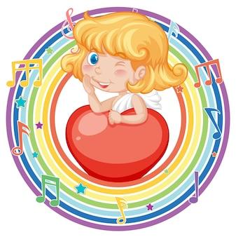 Fille de cupidon dans un cadre rond arc-en-ciel avec symbole de mélodie