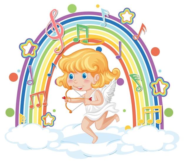 Fille de cupidon sur le nuage avec des symboles de mélodie sur l'arc-en-ciel