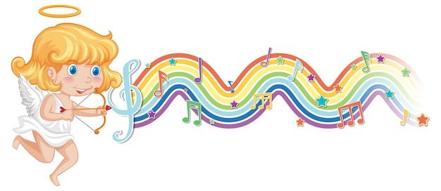Fille de cupidon avec des symboles de mélodie sur la vague arc-en-ciel