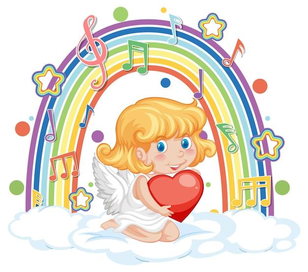 Fille de cupidon tenant le coeur avec des symboles de mélodie sur l'arc-en-ciel