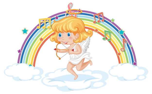 Fille de cupidon tenant la flèche et l'arc avec des symboles de mélodie sur l'arc-en-ciel