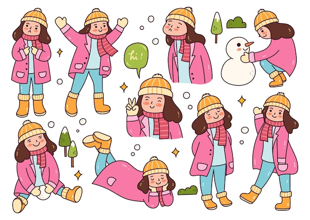 Fille dans différentes poses jouant à l'extérieur de la neige