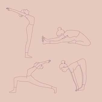 Fille dans différentes poses de yoga dans le style de ligne