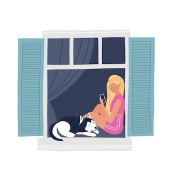 Fille dans une fenêtre avec un chien travaillant ou se relaxant sur un smartphone. illustration vectorielle dessinés à la main. concept de maison saty. auto-isolement pendant la quarantaine.