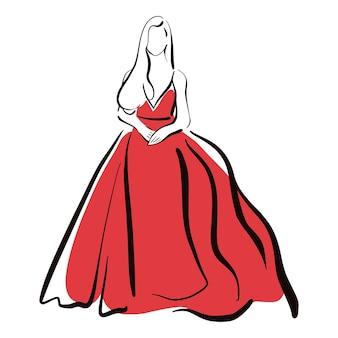 Fille dans une illustration de mode de croquis de robe rouge