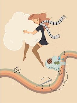 Une fille dans l'illustration vectorielle de rêve