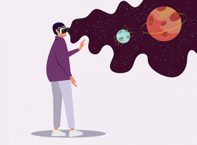 Fille dans des verres virtuels voit l'espace