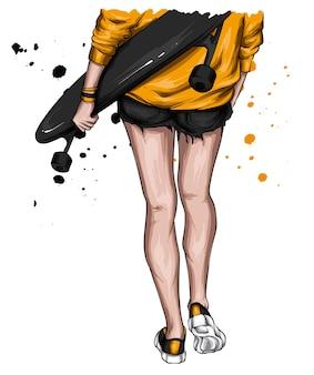 Fille dans des vêtements élégants et skateboard