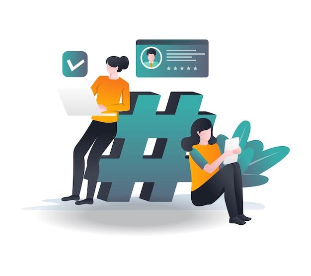 Fille debout à côté de hashtags en illustration isométrique