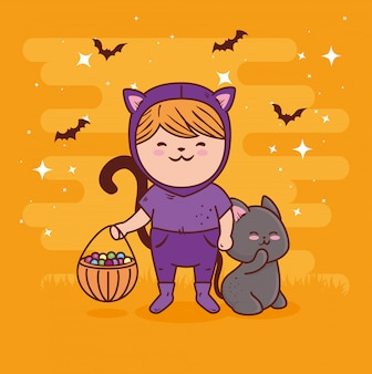Fille déguisée de chat mignon pour joyeuse fête d'halloween avec chat animal et bonbons vector illustration design
