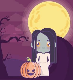 Fille déguisée en zombie sur la scène d'halloween
