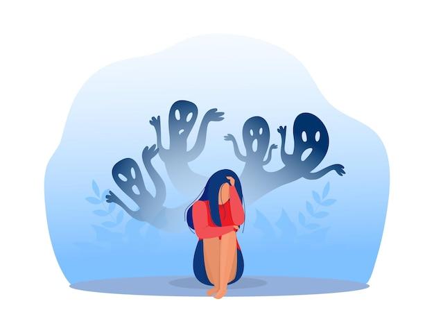 Fille déprimée avec anxiété et fantasmes effrayants ressentant du chagrin, des peurs, de la tristesse illustration vectorielle