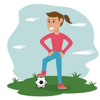 Fille de dessin animé avec ballon de foot dans la prairie