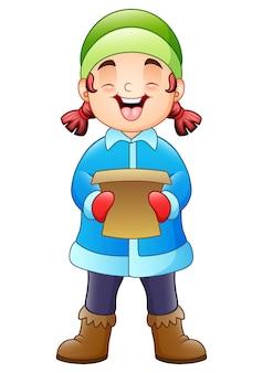 Fille de dessin animé chantant des chants de noël