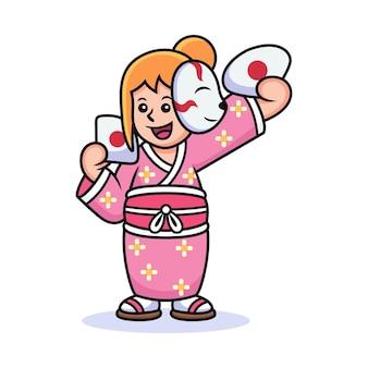 Fille avec dessin animé costume japonais. illustration d'icône de vecteur, isolée sur le vecteur premium