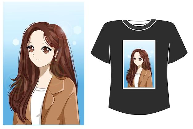 Fille Avec Dessin Animé Costume Pour Tshirt Vecteur Premium