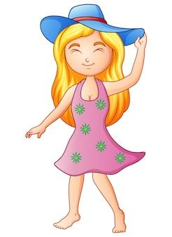 Fille de dessin animé dans un chapeau d'été