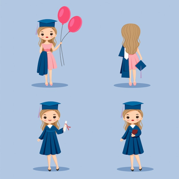 Fille de dessin animé avec ensemble de robes de graduation mignon