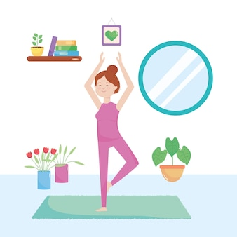 Fille de dessin animé faisant du yoga dans la maison sur fond blanc