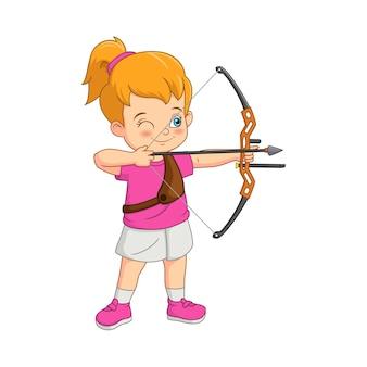 Fille de dessin animé jouant au tir à l'arc avec un arc