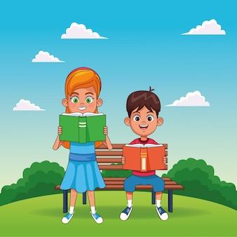 Fille de dessin animé lisant un livre et un garçon assis sur un banc, lisant un livre