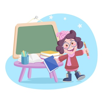 Fille de dessin animé avec livre, crayon et tableau, retour à l'illustration de l'école