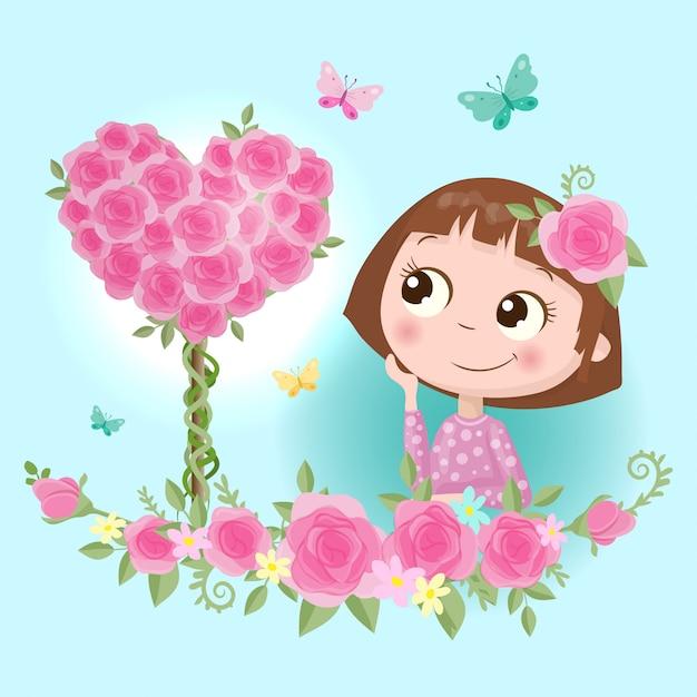 Fille de dessin animé mignon dans une couronne de fleurs roses avec illustration de papillons