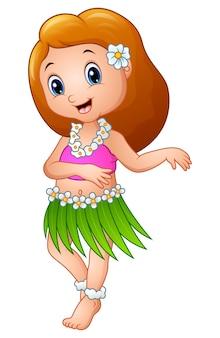 Fille de dessin animé mignon dansant hula hawaiian