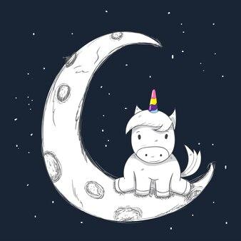 Fille de dessin animé mignon licorne sur la lune