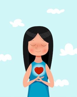 Fille de dessin animé mignon tenant le symbole de l'amour. illustration de concept amoureux