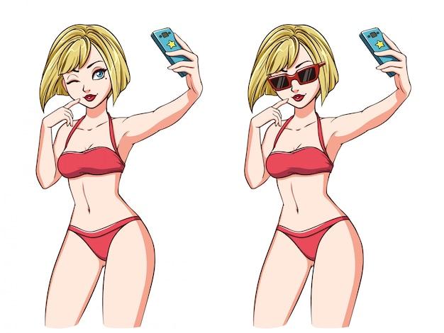 Fille de dessin animé prend un selfie. fille blonde en maillot de bain rouge et lunettes de soleil rouges. illustration dessinée à la main, isolée sur blanc. peut être utilisé pour le jeu, les cartes, les magazines, les affiches, les t-shirts.