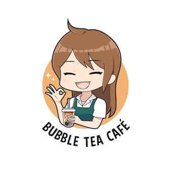 Fille de dessin animé serveuse tenant des boissons au thé à bulles avec un modèle de mascotte de logo de signe de main ok