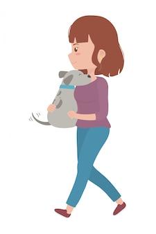 Fille avec dessin de chien