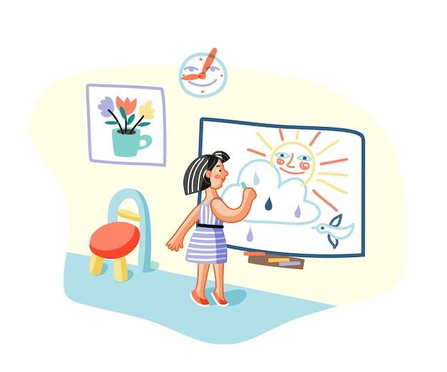 Fille de dessin sur tableau blanc en classe, jeune peintre en personnage de dessin animé de salle de maternelle.