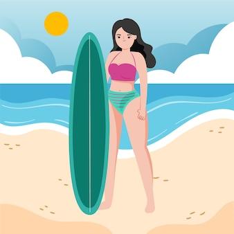 Fille dessinée à la main en bikini sur l'illustration de la plage