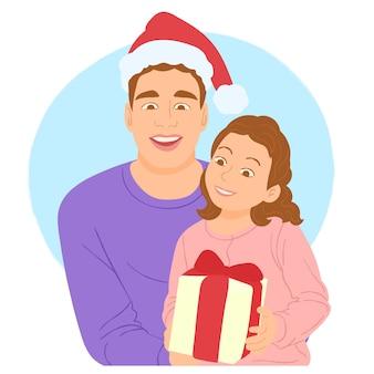 Fille donnant un coffret cadeau à son père