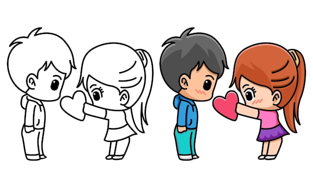 Fille donne du coeur à son petit ami coloriage pour les enfants