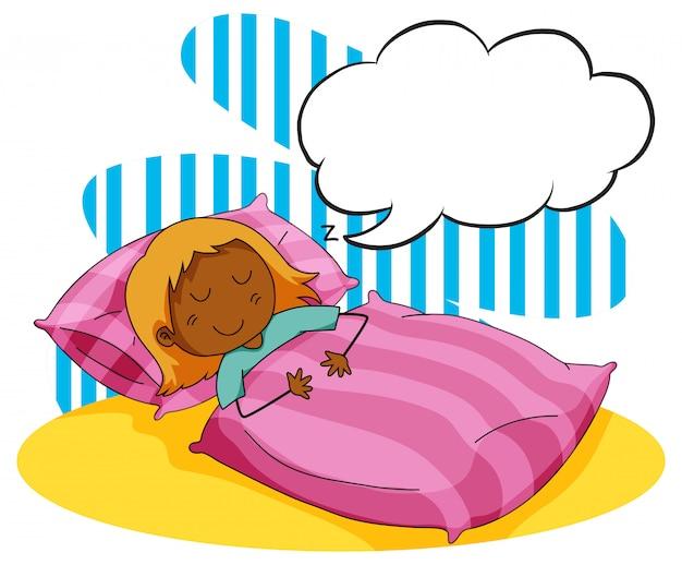 Fille dormant dans le lit
