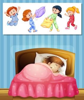 Fille dormant dans son lit