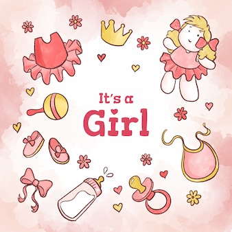Fille de douche de bébé rose