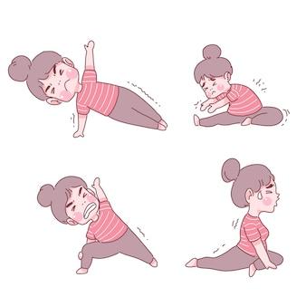 Fille drôle dans l'ensemble de poses de yoga