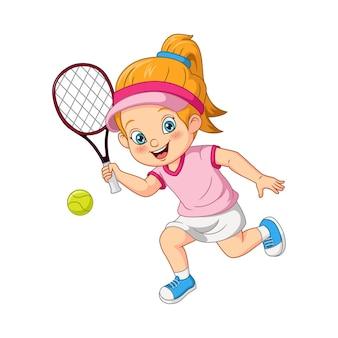 Fille drôle de dessin animé jouant au tennis