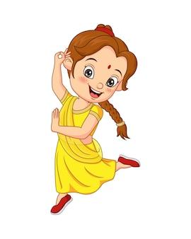 Fille drôle de dessin animé portant le costume national de l'inde