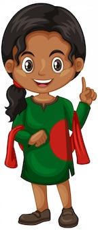 Fille du bangladesh en costume vert