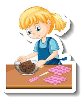 Une fille avec du chocolat dans un autocollant de dessin animé de bol