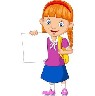 Fille de l'école de dessin animé tenant papier vierge