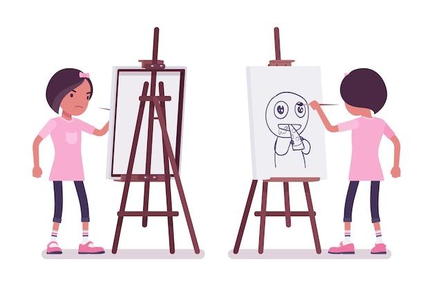 Fille de l'école dessinant une image drôle au chevalet d'artiste. jolie petite dame en t-shirt rose sur une leçon d'art, enfant actif, élève élémentaire intelligent âgé de 7, 9 ans. illustration de dessin animé de style plat de vecteur