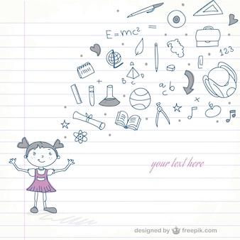 Fille de l'école vecteur doodle
