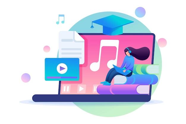 Fille écoutant des leçons audio, formation en ligne